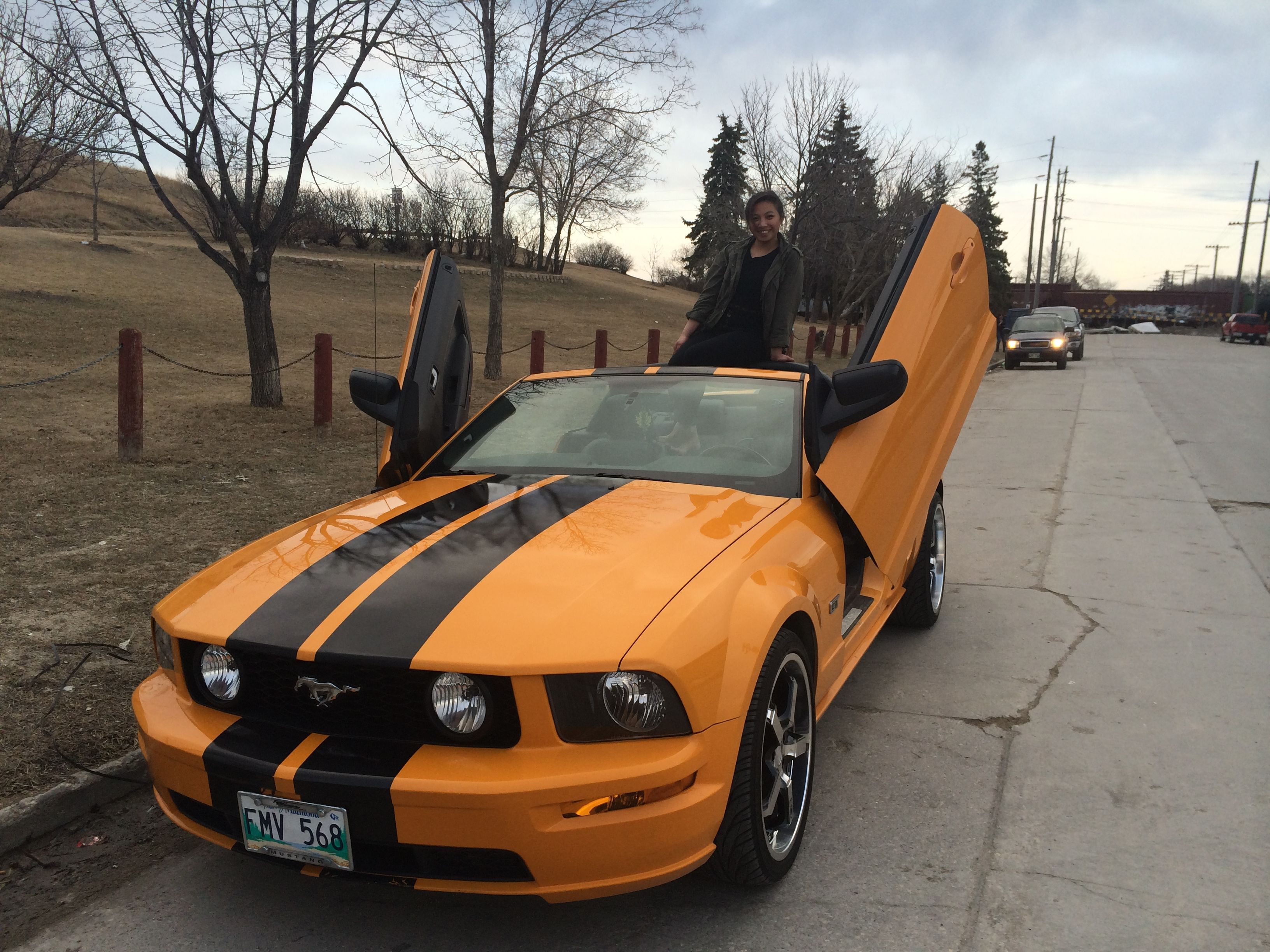Yellow Orange Or Grabber Orange Mustang Lambo Doors Hd Cd20 Wheels Dynomax Ultra Flo Muffler Convertible Hot Owner D