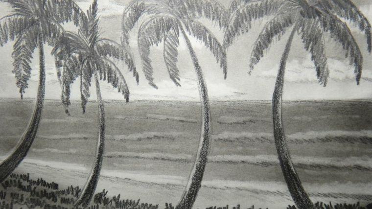 Disegni facili da disegnare matita paesaggio mare esotico for Disegni facili da disegnare a matita