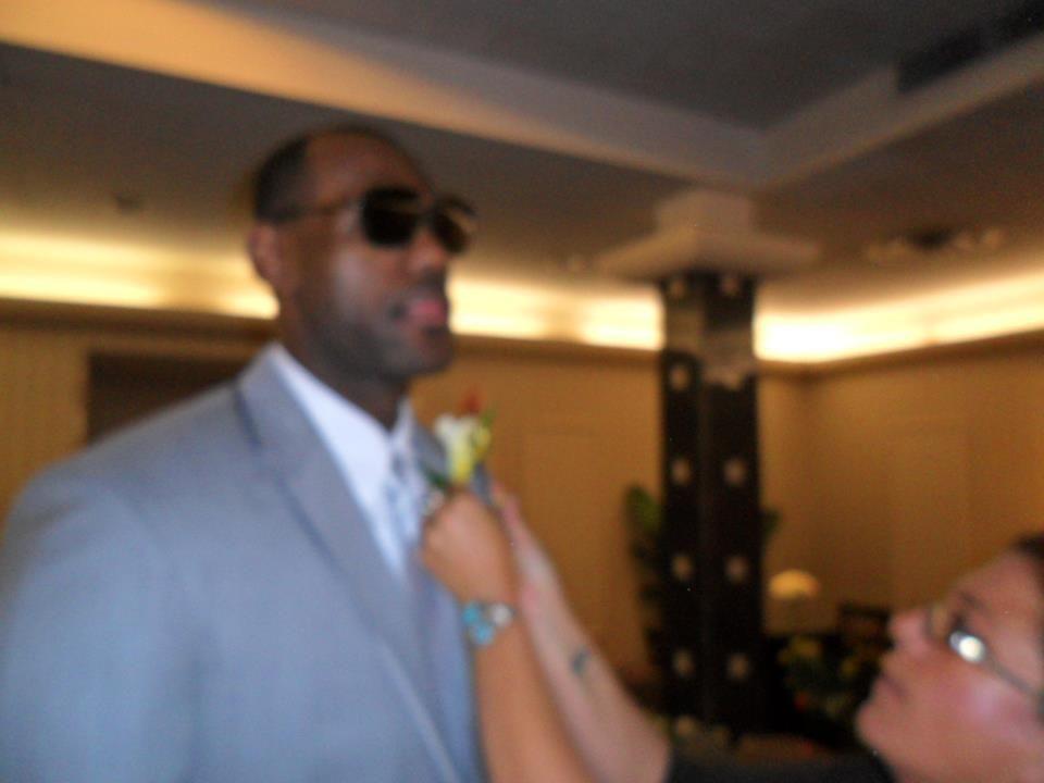 Pinning on LeBron James' boutonniere