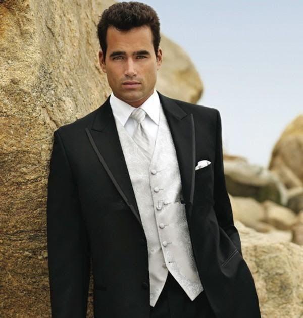Black Slim Fit Man Suit Business Suit Groom Tuxedos Best Man Prom ...