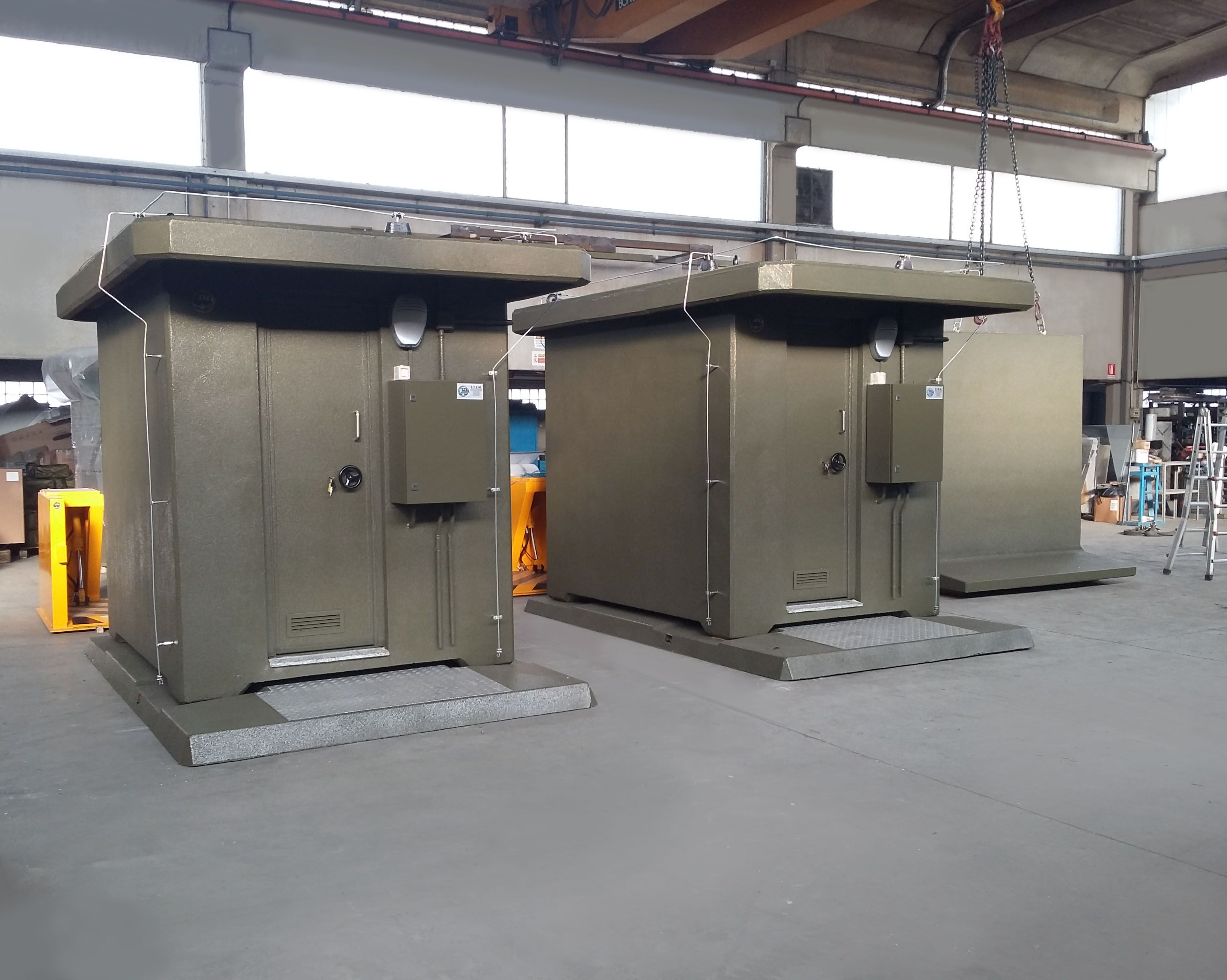 Ammunition storage shelters made in reinforced concrete  Fitted with