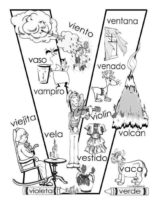 V Coloring Page Español Alfab