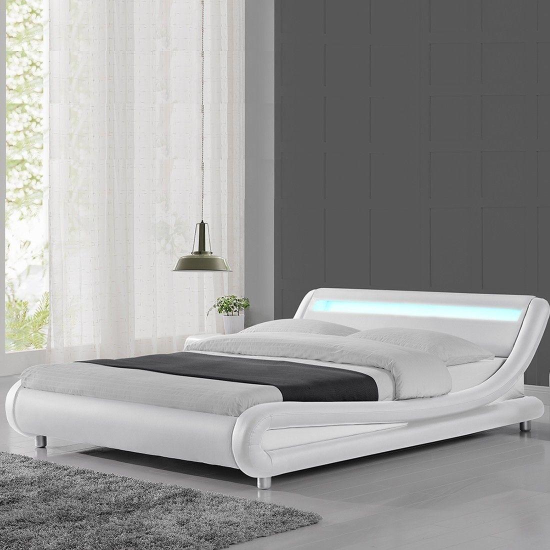 Lit A Led Similicuir Blanc 180x200 Cm Paula Lit Design Lit Moderne Modele De Lit