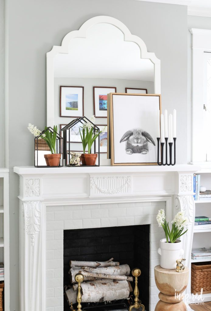 Modern Farmhouse Mantel Decor Ideas For Spring Decorating Inspired By Charm Farmhouse Mantle Decor Fireplace Mantel Decor Farmhouse Fireplace Mantels