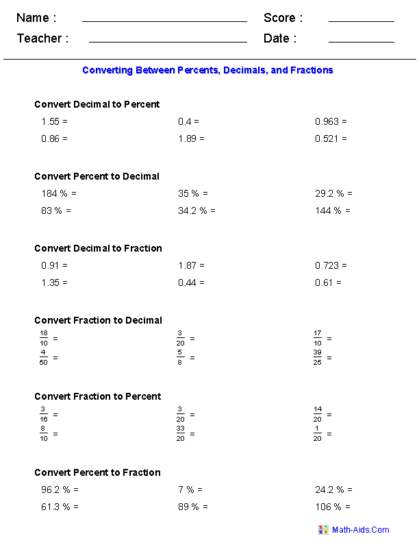 Converting Between Percents Decimals and Fractions Worksheets – Comparing Decimals and Fractions Worksheets