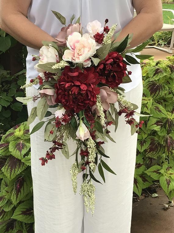 Crimson Blush Cascading Bridal Bouquet-Mauve Burgandy Cascading Silk Bouquet-Peonies-Larkspur-Lotus Blossom-Lisianthus-Heather-Mauve-Blush #silkbridalbouquet