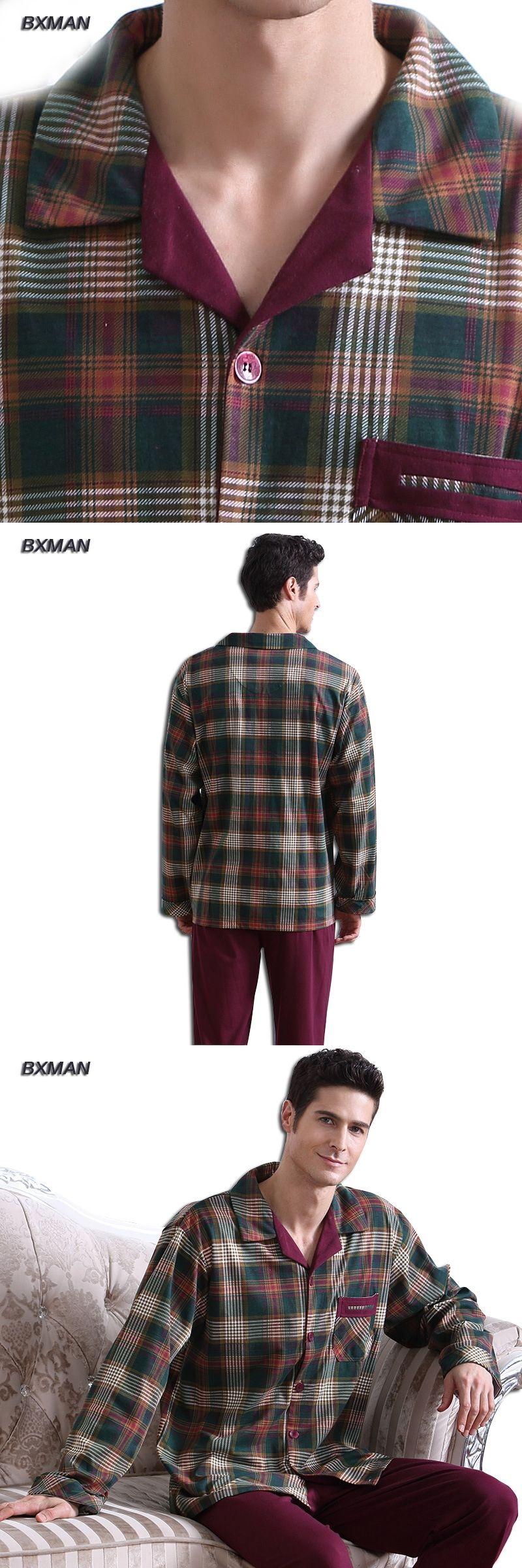 BXMAN Brand Men s Classic Pijamas Hombre Cotton Plaid Turn-down Collar Full Sleeve  Men Pajamas a1824c1c1