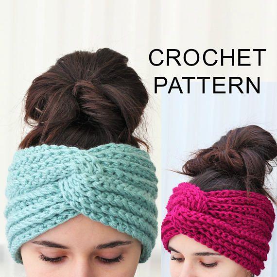 Crochet Pattern PDF, Patron de crochet - HANA Turban Ear Warmer ...