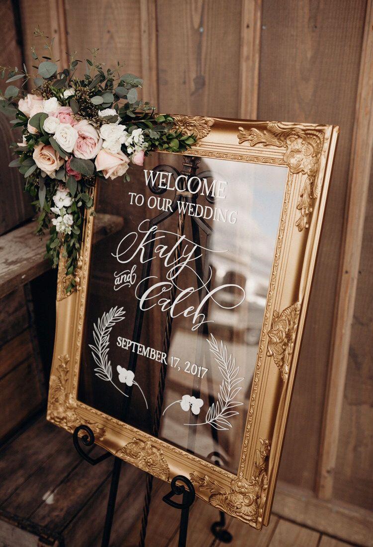 Ornate gold framed acrylic wedding Custom wedding