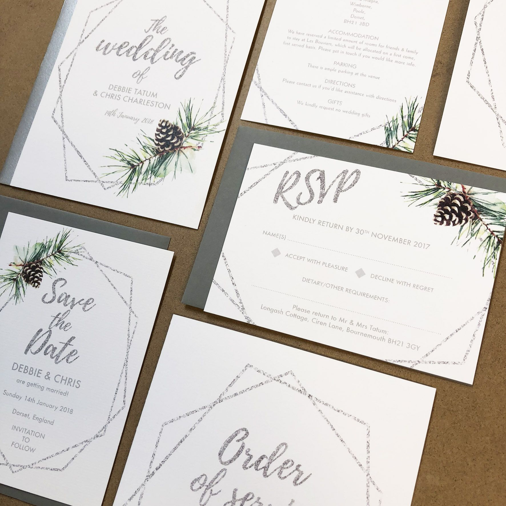 White, silver and forest green winter wedding invites / stationery ...