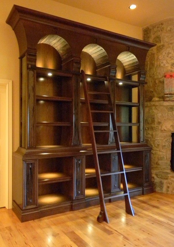 Home Library Furniture: Hickory Library Lighting On The Bookshelves