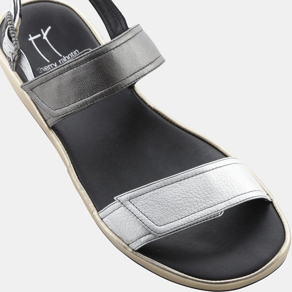 Thierry Rabotin Uno Metallic Leather Two-Strap Wedge Sandal (Women's) oPWGr