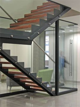 Staircase Steel Frame Wooden Treads Stairs Architecture   Steel And Timber Stairs   90 Degree External   Architectural   Modern   Contemporary   House