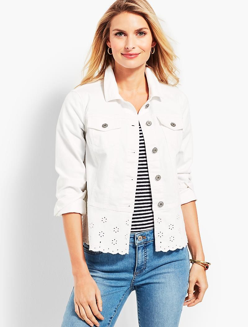 In love with this white jean jacket and the eyelet trim on the bottom. c2077722f