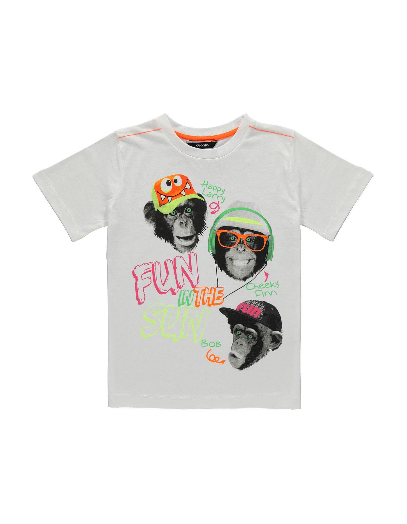 Black t shirt asda - Monkey Photo Print T Shirt Boys George At Asda