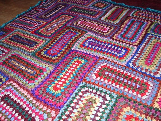 Knitting Patterns Using Squares And Rectangles : rectangle granny square afghan fiber frenzy - knit & crochet patterns a...