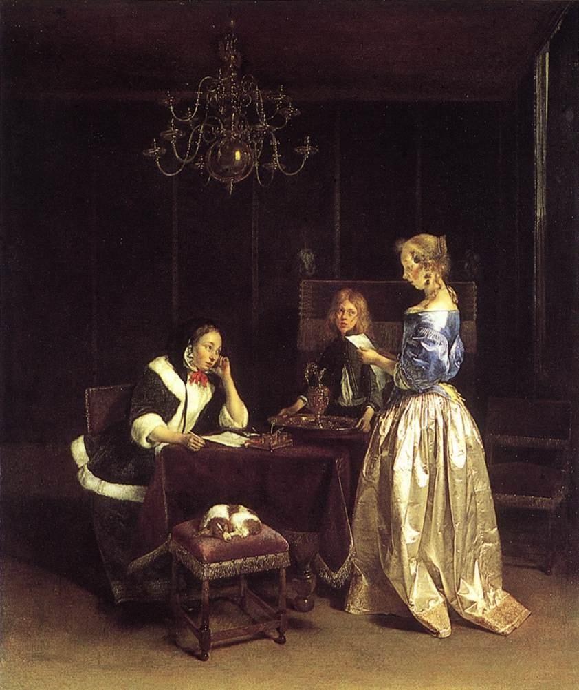 """Terborch Gerard, """"Woman Reading a Letter"""" 칠흑같은 어둠이 깔려있는 방 안에서 한 여인이 편지를 소리내어 읽어주고 있다. 청자들은 궁금한 표정으로 읽어주는 여인을 바라보고 있다. 또박또박 편지를 읽고 있는 여인의 낭낭한 목소리가 폐쇄적인 방 안에 울려퍼지는 듯 하다."""