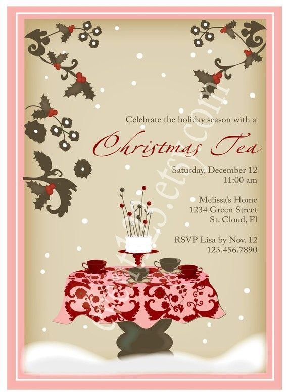 What a lovely invitation to a Christmas Tea Party – Ladies Tea Party Invitations