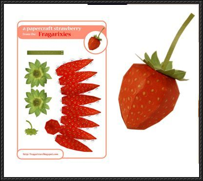 Fruit Paper Model Strawberry Free Papercraft Download Printables