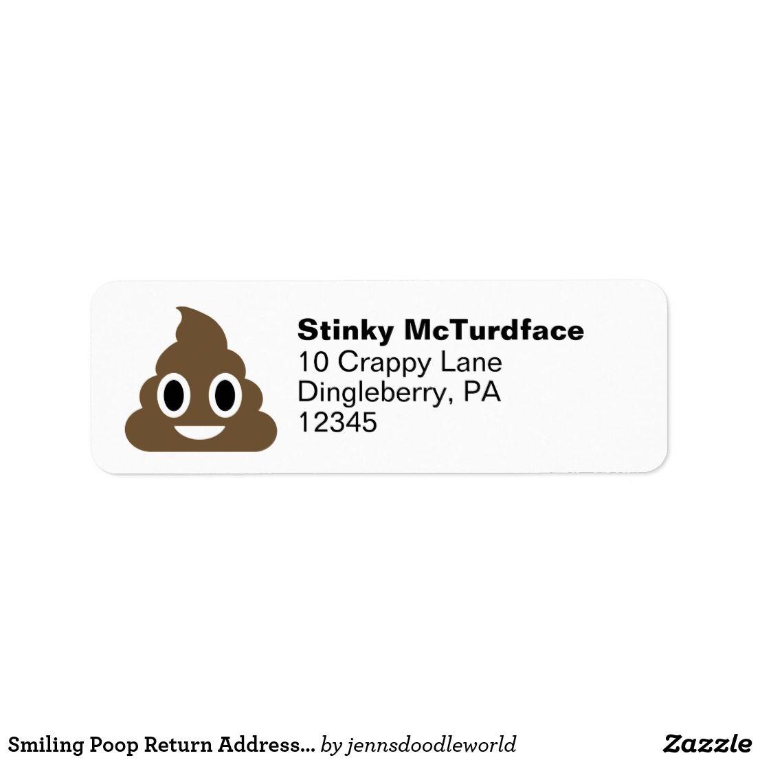 Poop Emoji Return Address Label  Funny Stuff    Return