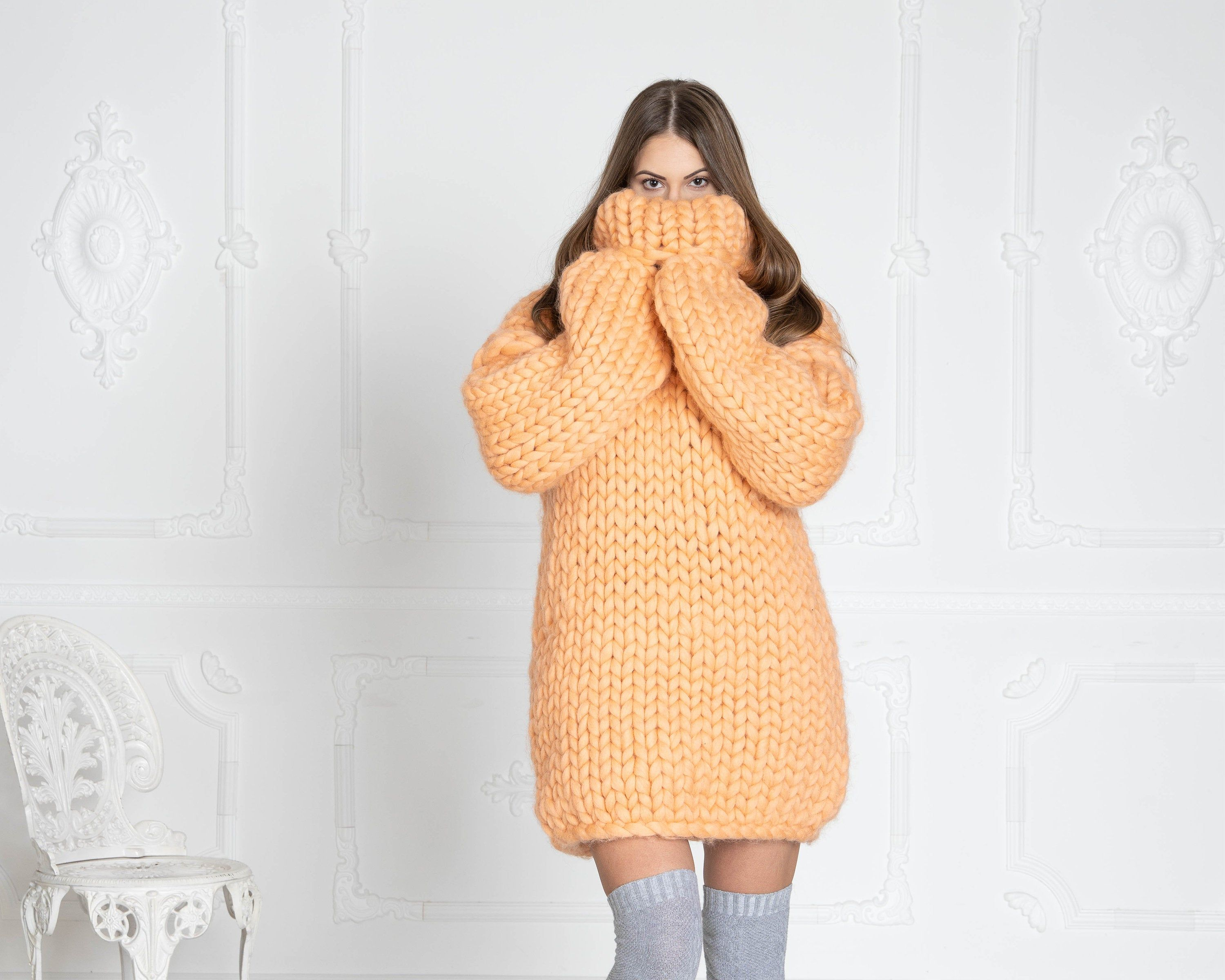 Thick KNIT SWEATER, Cables bulky sweater, Woman Giant knit