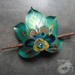 Peacock Feather Fan Hair Slide by *Beadmask on deviantART by Magnum02