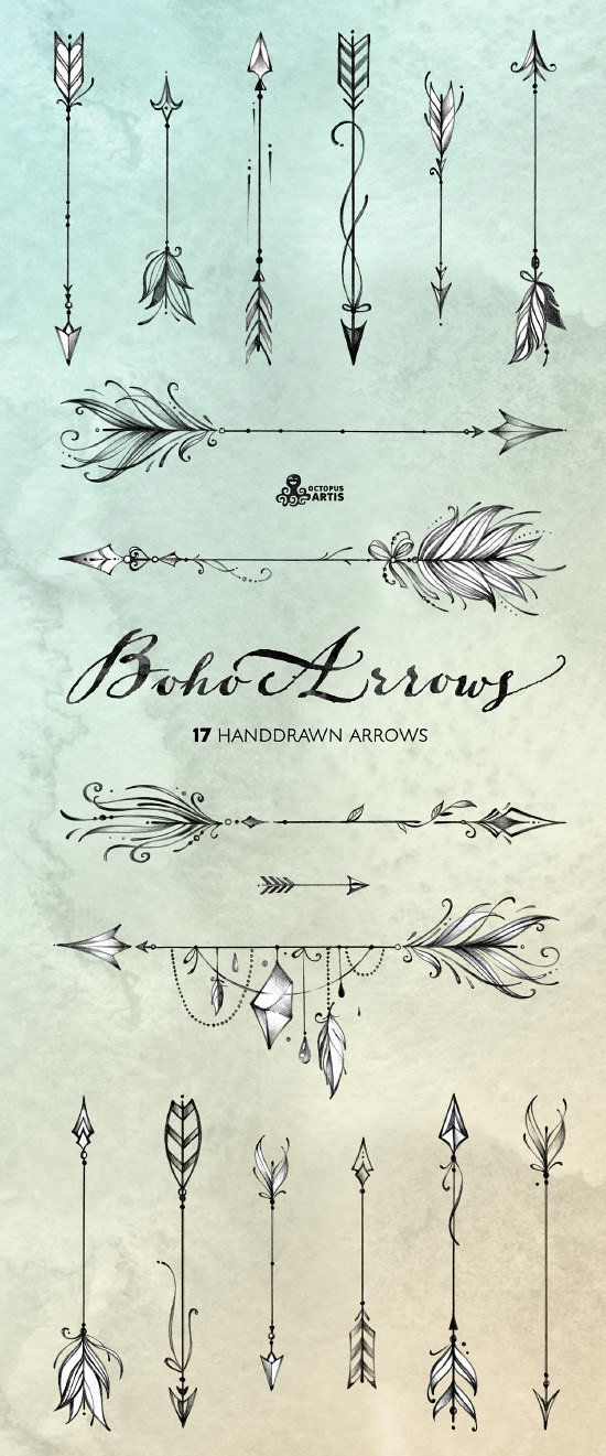Boho Arrows. 17 hand drawn Clipart. Tribal, native diy elements, logo, invitation, pencil, transpare