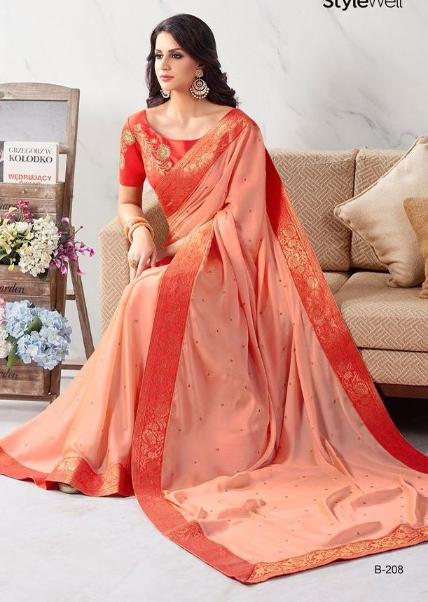 Pink Georgette Saree with Traditional Print and