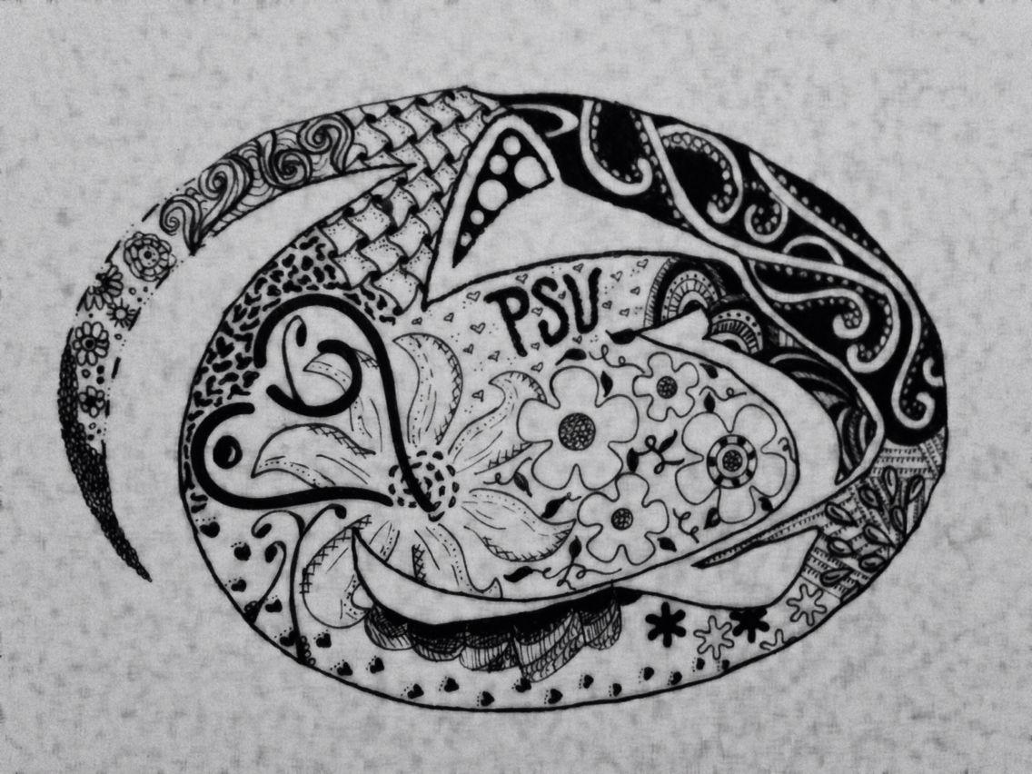 Zentangle Doodle Psu Nittany Lion Penn State Penn State