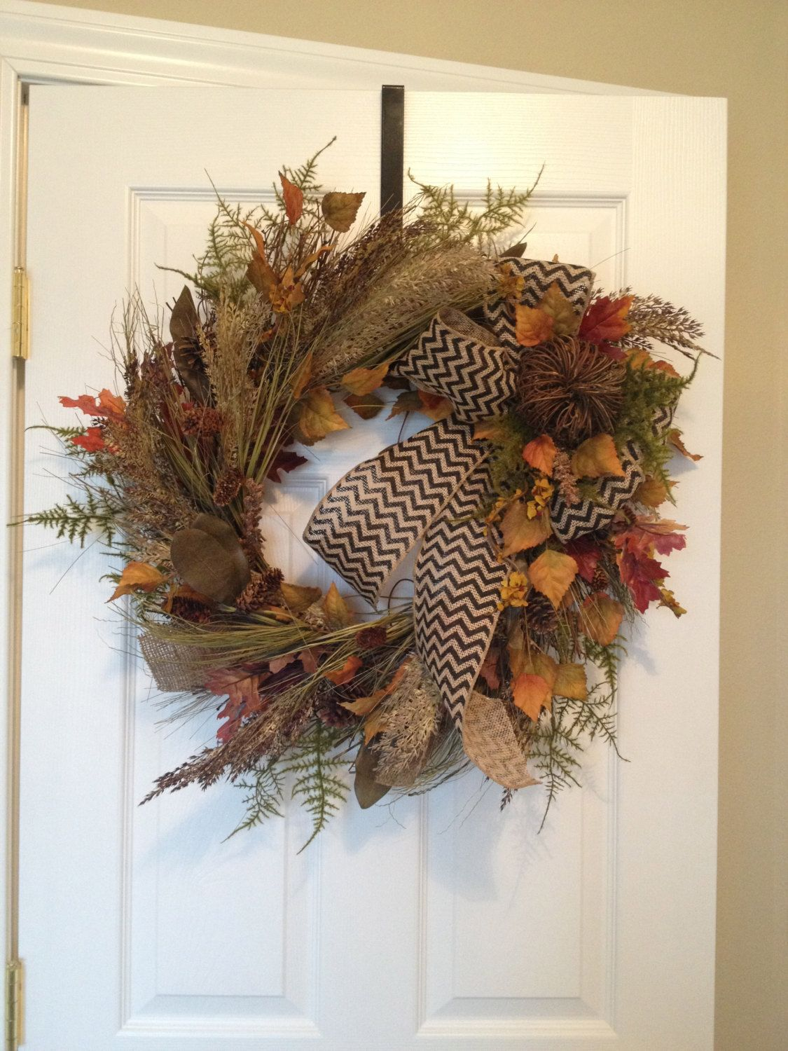 Fall Wreath with Burlap Bow and Twig Pumpkin by SevenStems on Etsy, $125.00