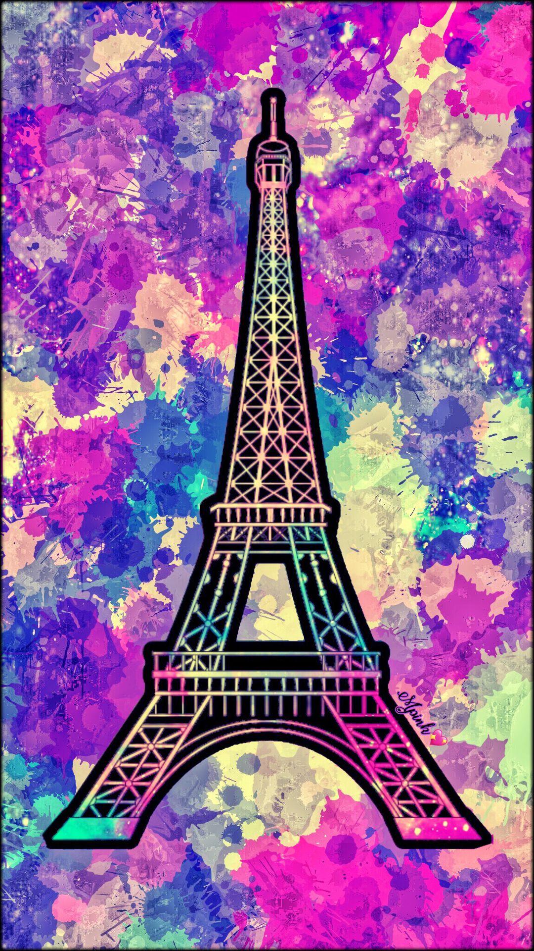 Splattered Eiffel Tower Galaxy Wallpaper Androidwallpaper Iphonewallpaper Wallpaper Galaxy Sparkle Glitter Lockscreen Pretty Pink Cute Europe Girly