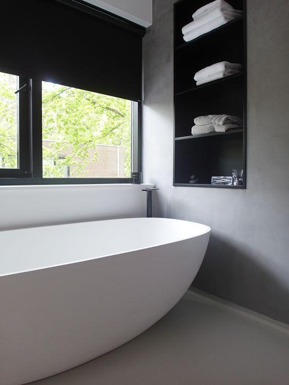 Rolgordijn voor in de badkamer | Sdb | Pinterest | Bathroom basin ...