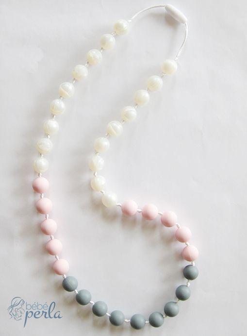 Silicone teething necklace - Pearly Pink www.bebeperla.com