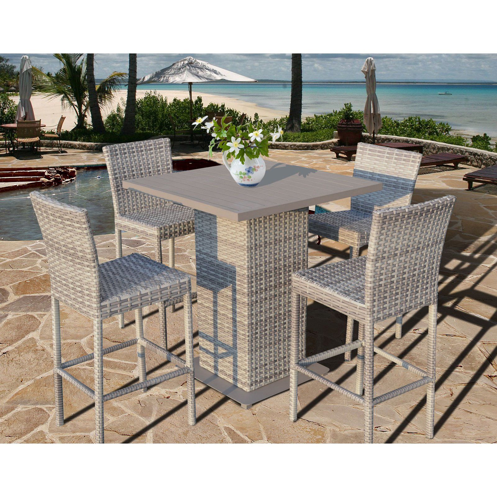 Fairmont Patio Furniture.Outdoor Tk Classics Fairmont All Weather Wicker 5 Piece Patio Pub