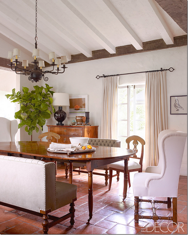 Reese Witherspoons Dining Room In Elle Decor Complete With Fabulous Fiddlehead Fig Plant