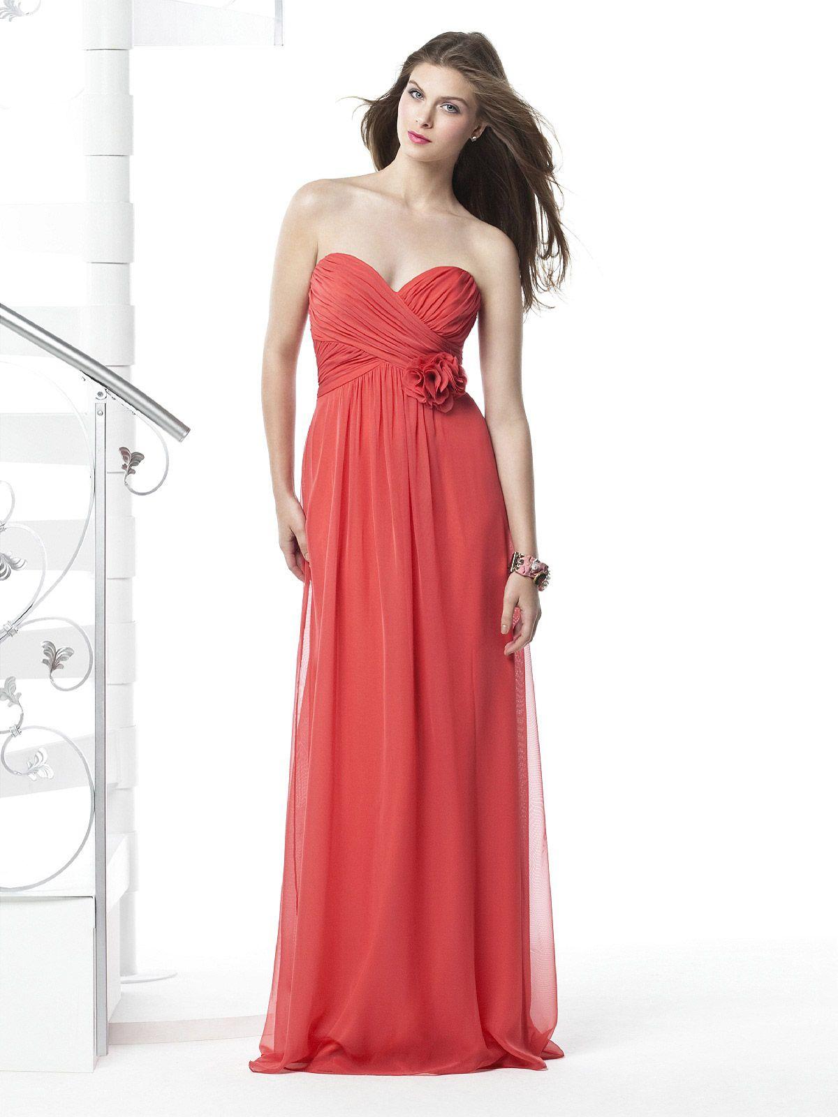 Strapless full length pink chiffon long bridesmaid dress i think wedding ombrellifo Gallery