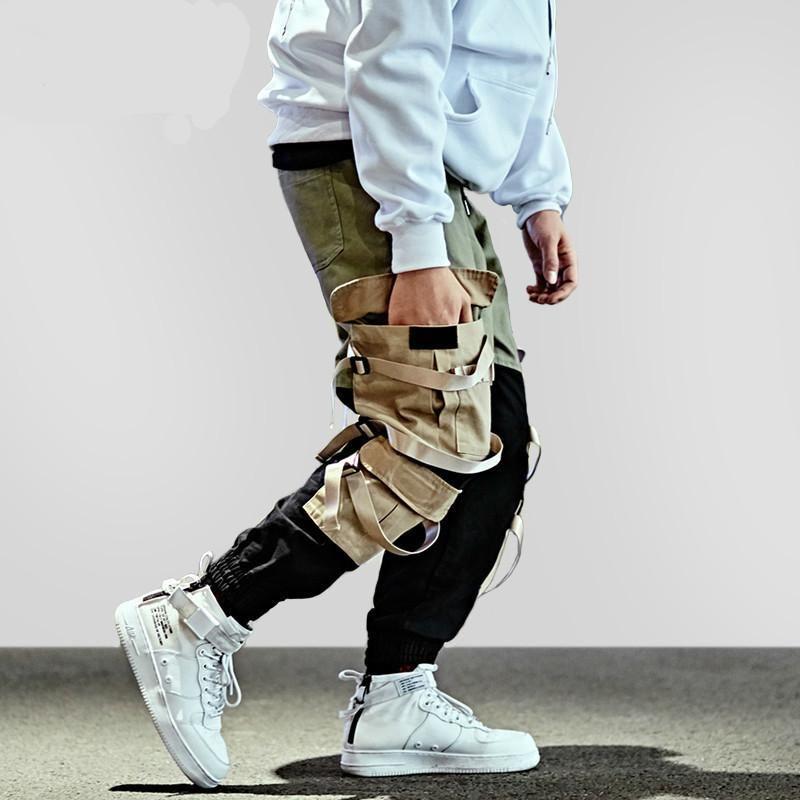 ad1ce9b8de215 Contrast Color Tactical Hip Hop Street Wear Styles Men Jogger Cargo Pants