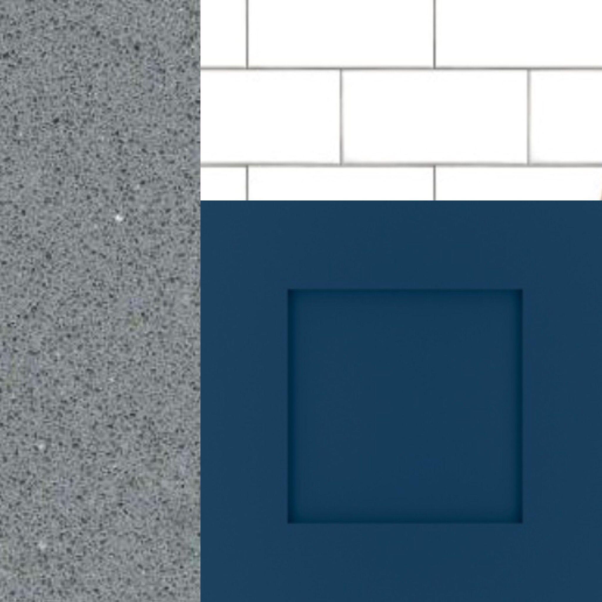 Kitchen. Blue lower cabinets, white upper cabinets, grey quartz ...