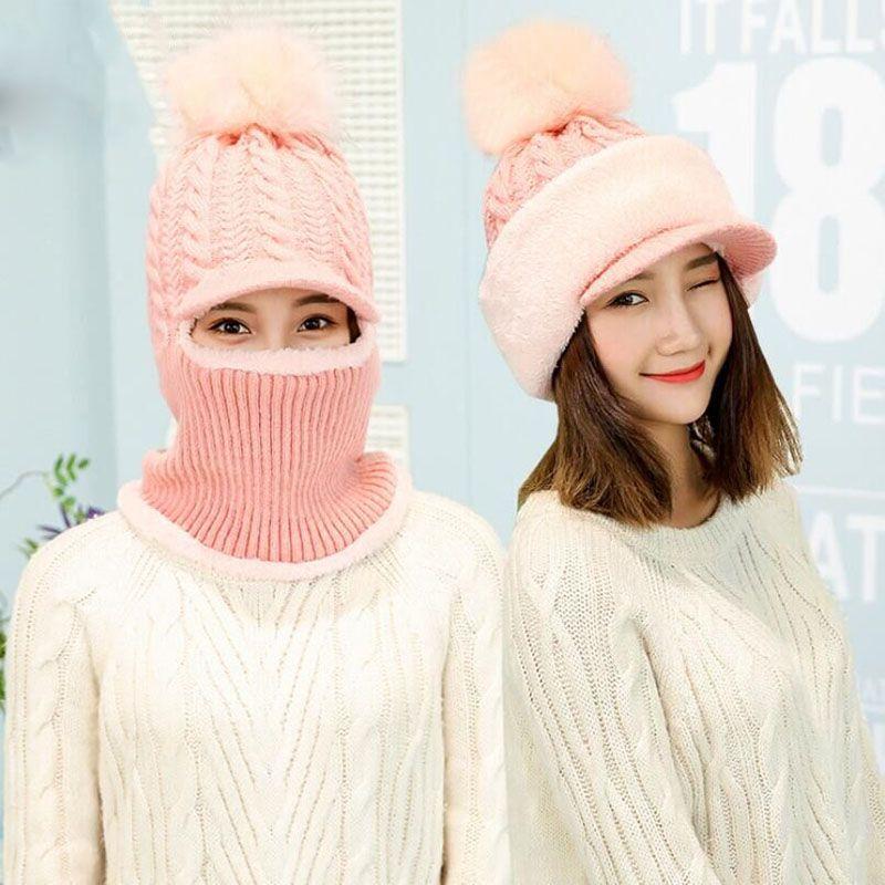 Вязаная шапка Зимний шарф для женщин Skullies вязаные шапочки зимние, шапки  для мужчин теплая маска Шерсть Тол… | Winter hats for women, Winter hats,  Hats for women