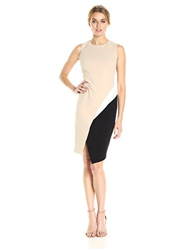 e9a75e3cf03 Calvin Klein Womens Sleeveless Color Block Dress KhakiBlack Multi 12      You can find out more details at the link of the image.  WomensDresses