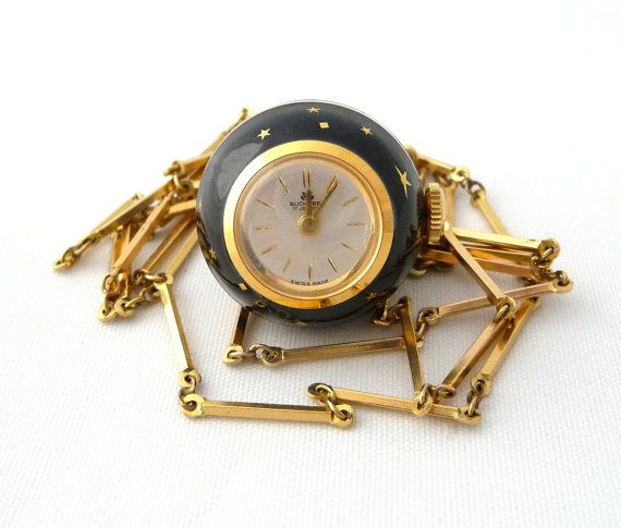 Vintage black enamel bucherer pendant watch necklace gold stars with vintage black enamel bucherer pendant watch necklace gold stars with chain 17 jewels swiss made works vintage watch from treasuresofgrace mozeypictures Images
