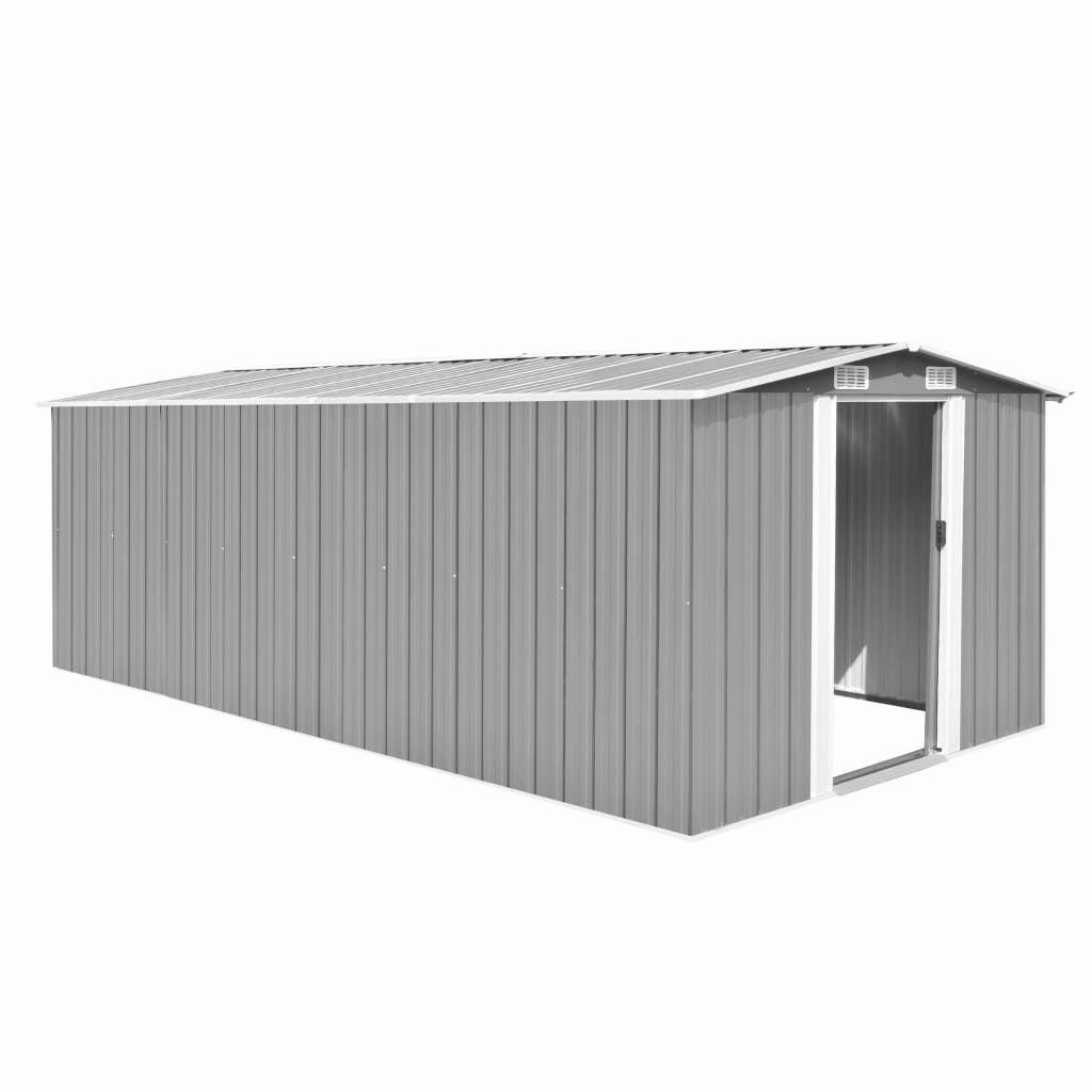 Garden shed, 257 x 489 x 181 cm, metal, gray