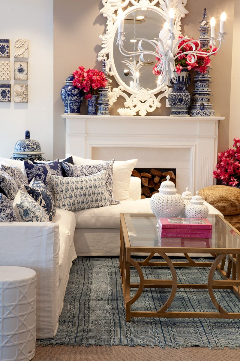 Blue White And Pink Living Room Ornate White Mirror Blue And