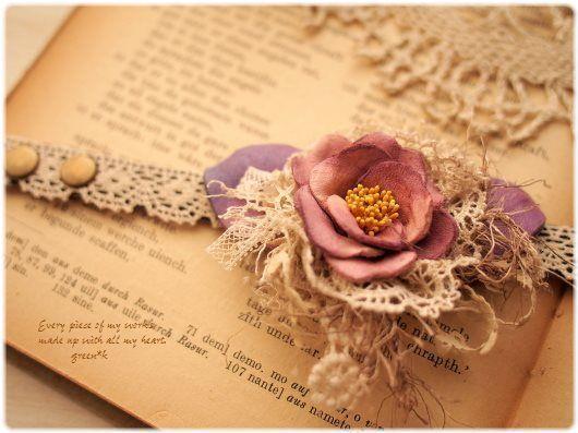 *【sold out】 (ピンク)椿のお花とレースいっぱいの乙女ブレスレット