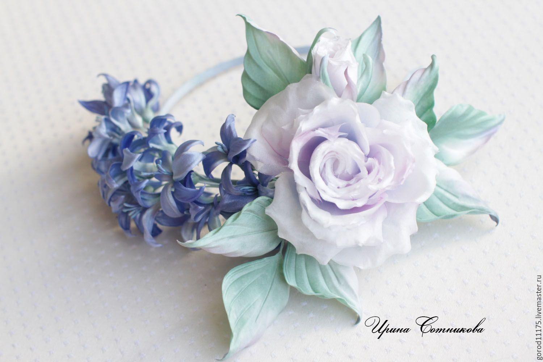 Купить Ободок с гиацинтом.Натуральный шелк , ручная работа. - синий, ободок для волос, ободок с цветами