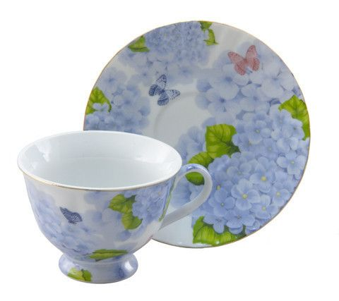 Blue Butterfly Inexpensive Porcelain Teacups Case Includes 24 Tea ...