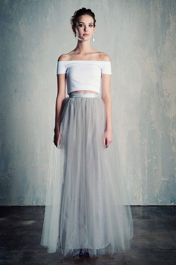 8b341ab7305a2 Silver Tulle Maxi Skirt Grey/Gray A Line Floor by darkponydesigns-$225.00