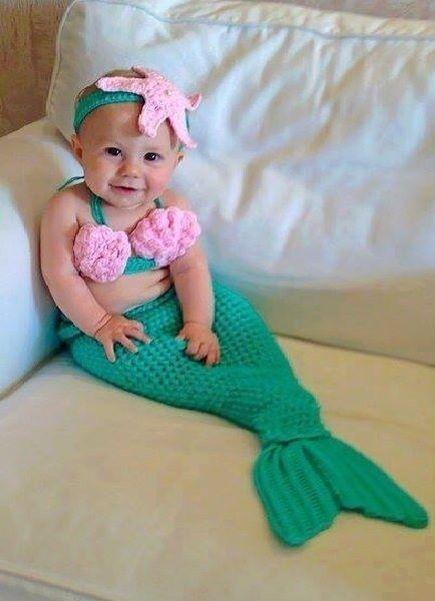 3 x Piesas Traje Sirena de Mar Bebe Niña Recien Nacida Accesorio Ropa de Baby