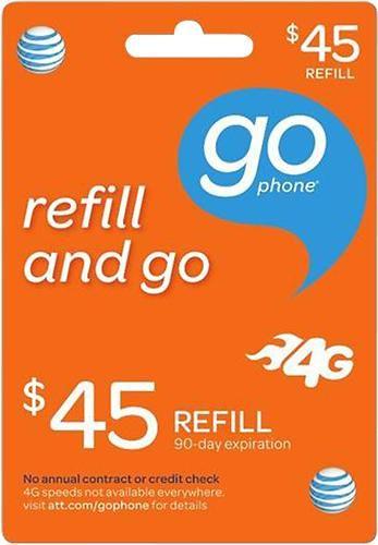 $45 AT&T GoPhone Top-Up Prepaid Card   Att cards   Prepaid