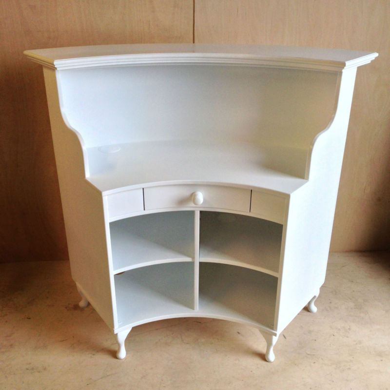 Curved Salon Reception Desk French Style Shabby Chic With Cash